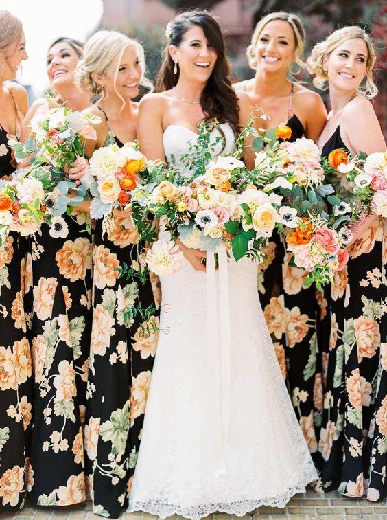 Floral print bridesmaids dresses Danielle Poff Photography http://www.daniellepoff.com