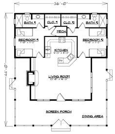 Sl1237 Southern Living The Bunkhouse 1237 Cabin Floor Plans House Floor Plans House Plans