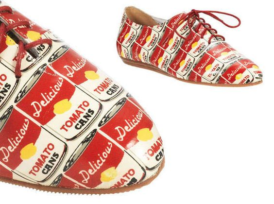 Souped up shoes - start with a pair of bowling shoes and cover them with Andy Warhol
