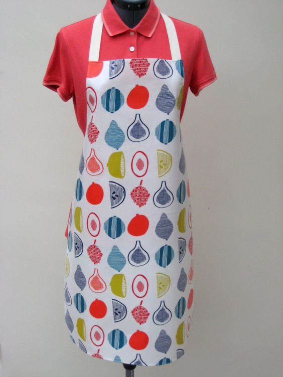 Adult PVC Apron Scandi Fruit Design, Oilcloth Apron, Waterproof Apron by OneLeggedGoose on Etsy
