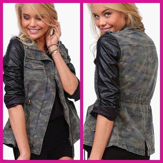 # Camo jacket with pleather sleeves.