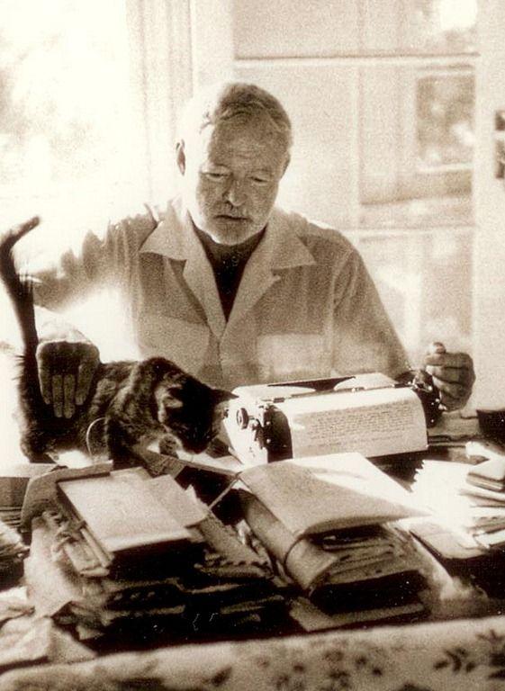 Hemingway and his cat http://mitchlav.files.wordpress.com/2012/01/scan0003.jpg