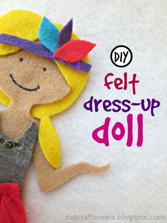 Template to make a DIY felt dress-up doll