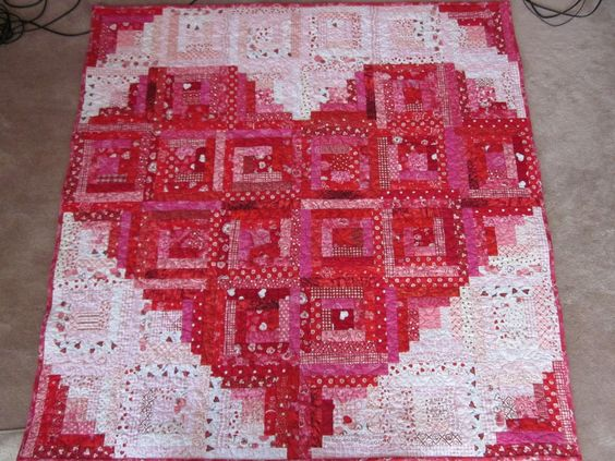 Log Cabin Valentines Quilt--I love handmade quilts!! I wish I had time to make something like this, it is amazing!: