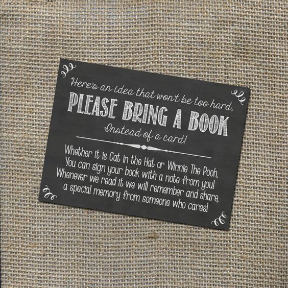 Please Bring a Book Instead of a Card! Insert for Baby Shower Invitations - Library Card with Chalkboard or Rustic Theme, Gender Neutral DIY