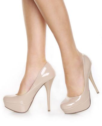 My Delicious Jones Dark Beige Patent Platform Pumps | Pump, Nude ...
