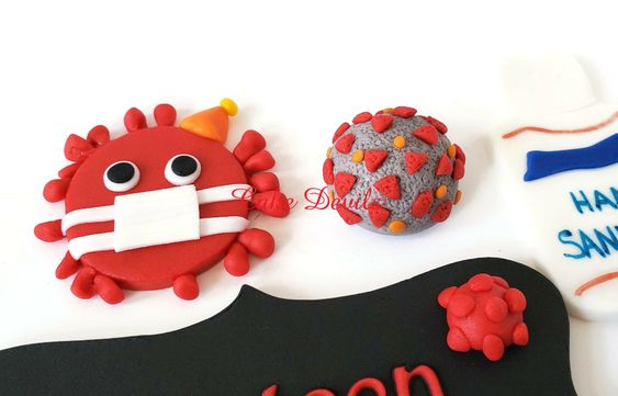 Quarantine Birthday Party Fondant Cake Toppers, virus Cake Decorations, Tiger King, Face Mask cake Toppers, hand sanitizer, Toilet Paper