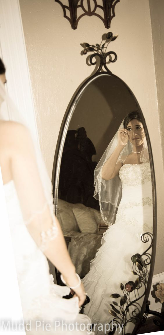 Beautiful bride's first look at herself