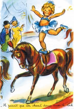 Germaine Bouret : Equitation. - Il parait que son cheval danse aussi le rock!
