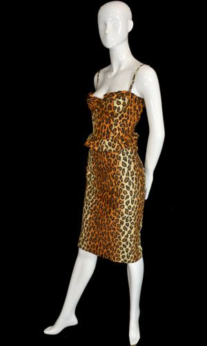 Rare vintage designer 3 piece skirt bustier and peplum jacket suit in leopard print from Patrick Kelly Paris.