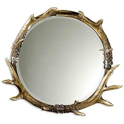 Complete any room with this beautiful, outdoors-inspired decorative framed mirror. The wall accessory features a brown and ivory stag horn-styled frame-finish which is accented by silver leaf detailing and a generous mirror bevel.http://www.overstock.com/Home-Garden/Brown-Ivory-Round-Stag-Horn-Framed-Mirror/6479452/product.html?CID=214117 AUD              296.20