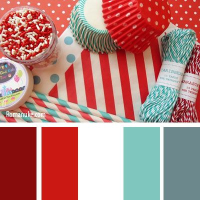 This is a favourite colour combo - red and turquoise/mint. I'd like to make this…: