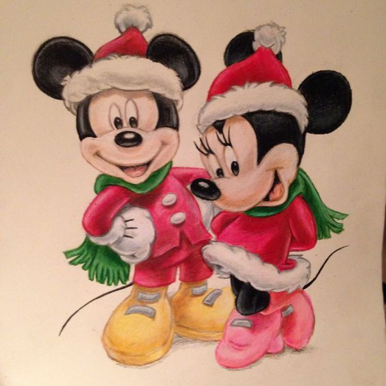 Christmas Disney. Mickey and Minnie mouse