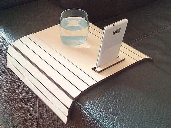 Laser Cut Wood Arm Rest Table With Cell Phone Stand Sofa