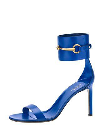 Gucci Horsebit Patent Ankle-Wrap Sandal, Cobalt - Bergdorf Goodman