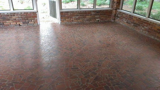 Brick mosaic tile for screened porch