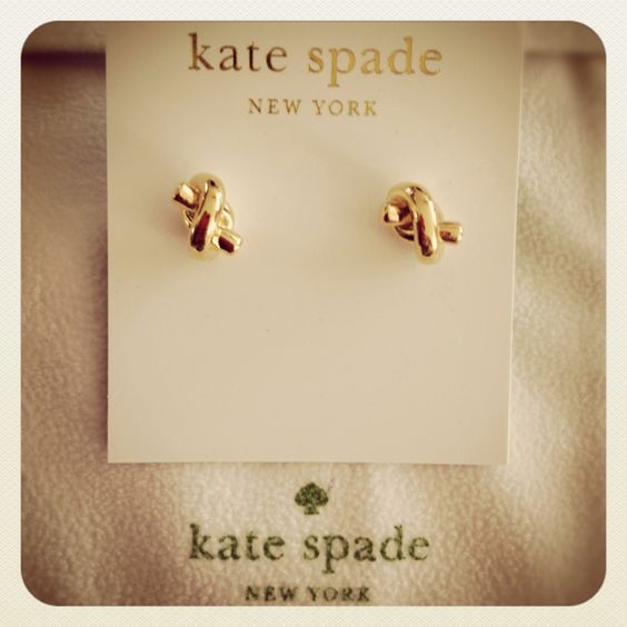 Kate Spade knot earrings- bridesmaid gift- thanks for helping me tie the knot. They could wear them on the day of the wedding!
