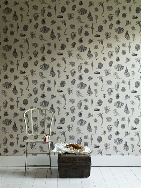 LW37/1 - Low Tide Lunch. A wallpaper featuring a collection of  beautifully illustrated under the sea creatures & sea shells. RRP £84.95 inc. VAT for a 10m roll.