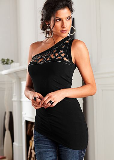 Black (BK) Cut Out Detail Top Black takes on a new life when it sparkles with rhinestones. · One shoulder top features rhinestones and cut out details · Poly/spandex · Imported or domestic · Style #Z14043