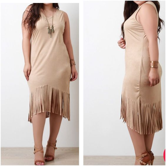 New Plus Taupe Size Faux Suede Fringe Sleeveless Bodycon Dress Size 2X #FabulouslyDressedBoutique #StretchBodycon