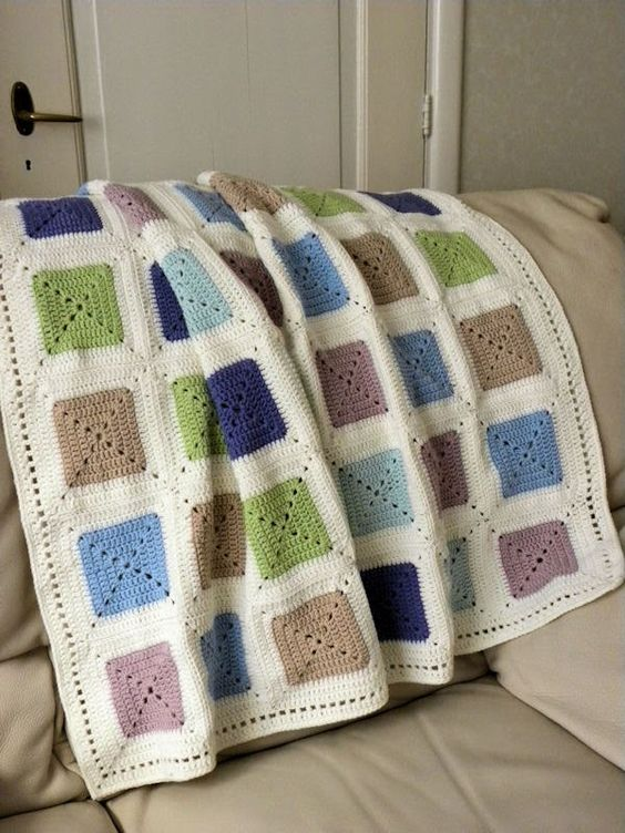 Blokjes deken in pastel