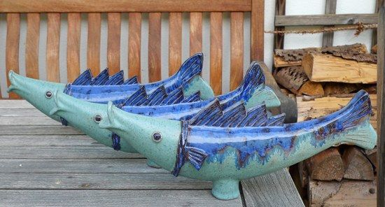 Keramik Fische von Margit Hohenberger