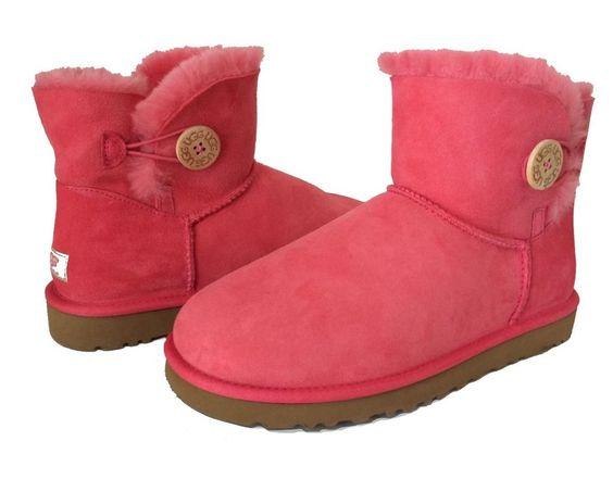 UGG BOOTS MINI BAILEY BUTTON  FLAMINGO PINK WOMEN'S US 11 /EUR 42 /UK 9.5 New!