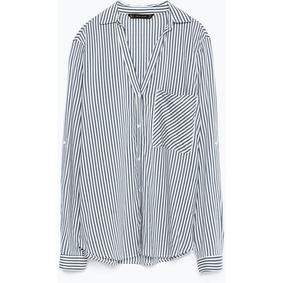 Zara Striped Shirt (€35) ❤ liked on Polyvore featuring tops, shirts, zara top, stripe shirt, zara shirt, shirts & tops and striped top