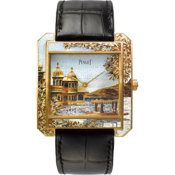 Piaget Protocole XXL Indian Landscape Micro-Mosaic Painting Yellow Gold