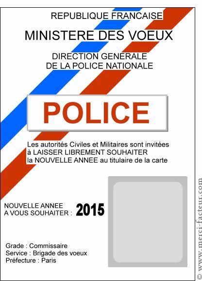 Carte la nouvelle ann e de la police pour envoyer par la for Carte de voeux humour