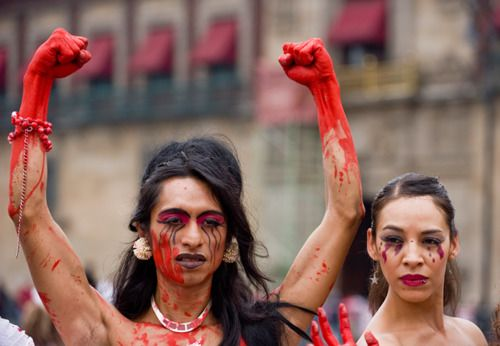 Transgender activists in Mexico City, protesting violence against the LGBT community.
