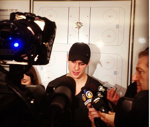 Sidney Crosby making his last address to the media as the players clean out their lockers & head home for summer.