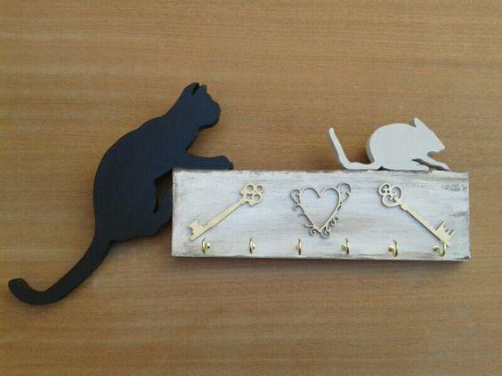 Cuelga llaves gato raton