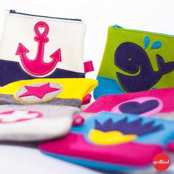 """Die """"Lovely 9"""" sind bezaubernde Wollfilztäschchen (14 x 18,5 cm). Sie sind gemacht für all' die kleinen, aber wichtigen Dinge deines Lebens – in deiner Handtasche, im Badezimmer, einfach überall. D…"""