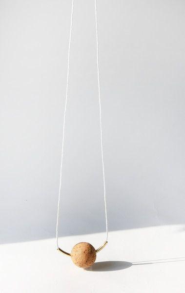 Necklace+SOFTBALL+/+cork+and+brass+von+elevenelephant+auf+DaWanda.com