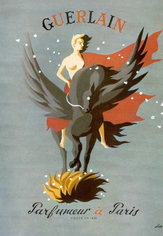 #Publicité pour Guerlain (1950) dessinée par Lyse Darcy.: