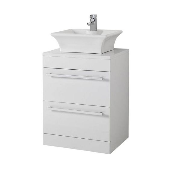 Odessa white floor mounted 600 drawer unit victoria for Bathroom cabinets victoria plumb