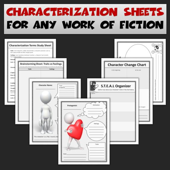 Characterization Worksheets for Use with Any Novel or Film – Characterization Worksheets