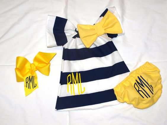 Monogrammed Navy White Stripe Dress Matching by vonBoutiqueBows, $40.00