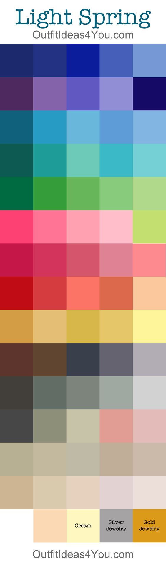 Light Spring Color Palette It would be a good idea to print this out and take it with you when you go shopping. If the clothing colour goes along with the sheet, you should be fine.