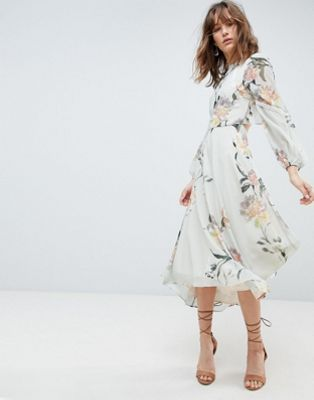super popular 2018 sneakers release info on Hope & Ivy Long Sleeve Printed Dress With Lace Trim And Ruffle ...