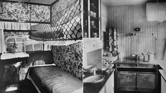 A sleeping cabin and the kitchen area on the Graf Zeppelin (1928).: