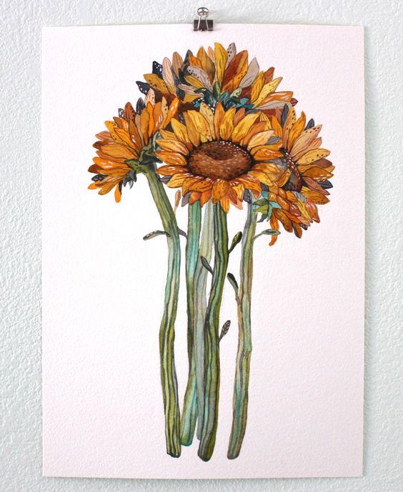 Girasole dipinto ad acquerello, stampa d'arte floreale, il giardino botanico, Giclee Print Art, archivistici Art Print - Bundle girasole di RiverLuna su Etsy