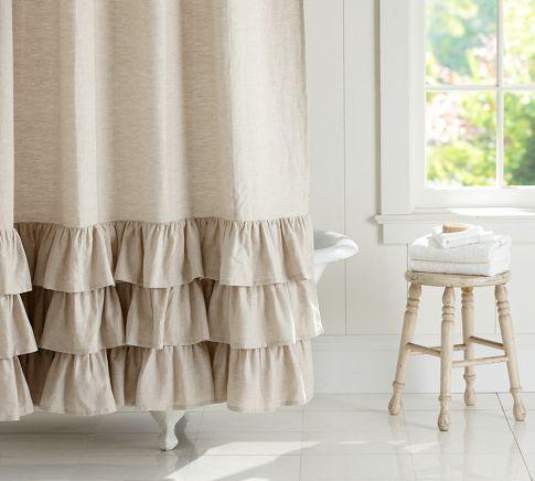 Lovely shower curtain! - Linen Ruffle Shower Curtain   Pottery Barn