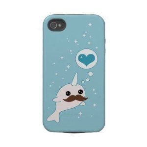 Mustache Narwhal Tough Iphone 4 Cases