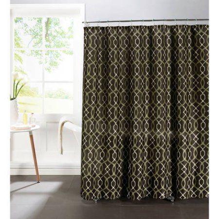Curtains Ideas brown linen curtains : Ikat Geo Faux Linen Textured Shower Curtain with Metal Roller ...