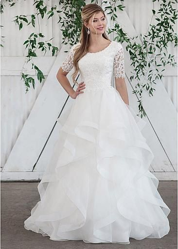 Marvelous Tulle & Organza Scoop Neckline A-line Wedding Dresses With Beaded Lace Appliques