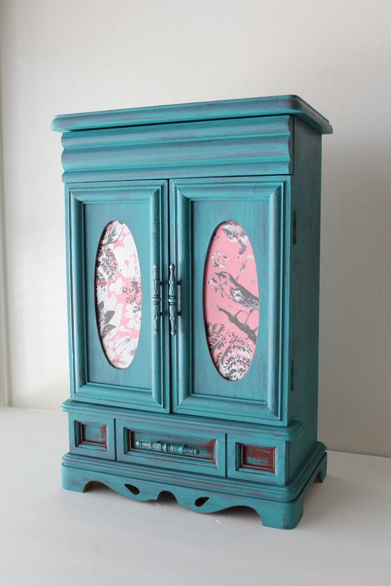 Hand Painted Teal with bird pattern Vintage Jewelry Box Sankyo Music Box