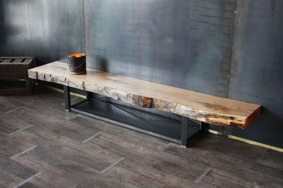 Meuble tv bois massif métal bois style industriel : Meubles et rangements par micheli-design