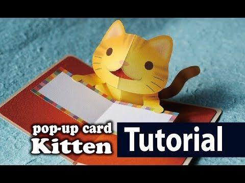Tutorial Kitten Pop Up Card Youtube Birthday Card Pop Up Pop Up Card Templates Diy Pop Up Cards